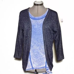 Old Navy Heather Navy Blue Open Front Cardigan M